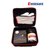 Tire sealant repair kits with air compressor