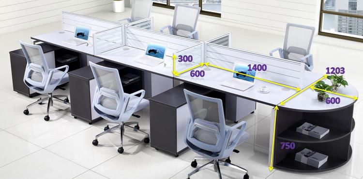 Design moderne bureau bureau bureau poste de travail 6 for Bureau design 2 personnes