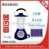 Portable fluorescent solar rechargeable lantern