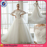 2015 New Model lace bridal dress Factory direct Ready made Long sleeves heavy lace wedding dress muslim gown 2015
