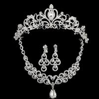 2015 Hot Sale Silver Crystal Wedding Bridal Bridesmaid Jewelry Sets Rhinesotne Necklace Earrings Tiara/Crown Jewelery For Women