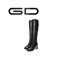 Gd clásicos y concisa gruesos ocasionales del talón sobre la rodilla botas para las damas