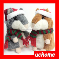 UCHOME Christmas repeat talking hamster plush toy,electric pet hamster