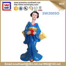 custom japanese geisha in resin crafts and blue dress japanese geisha dolls and resin japanese geisha for sale