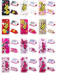 Hot Pink Butterfly And Flower Wallet Stand Case for iPhone 6
