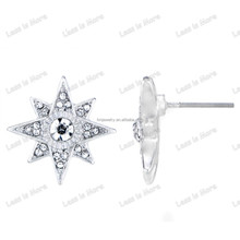 925 Silver & gold Star burst Stud Earrings with zircon stone