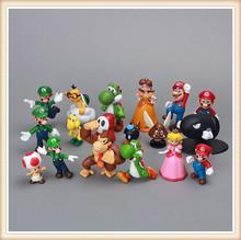 "18pcs set Super Mario Bros 1.4"" - 2.2"" Yoshi Luigi Action Collectible Figures Figurines"
