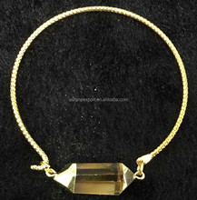 2015 Popular Natural stone Crystal Connected Bangle Jewelry Wholesale