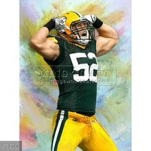 Handmade Famous Celebrity portrait pop art oil painting on canvas,Clay Matthews American Football Linebacker