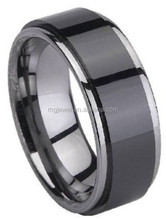 Black Plated Shiny Surface Tungsten Carbide Rings For Men