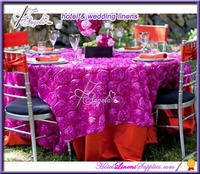 "fuschia 90"" * 90"" (229*229cm) square 3D rosette tablecloth in satin, rosette tablecloths"