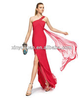 Latest Famous Designer Sexy One-shoulder High Low Asymmetric Prom Dress Evening Gowns 2013 POE-029