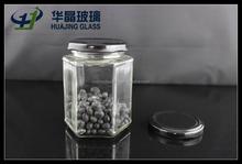 295ml empty clear hexagonal glass jars for honey candy jam with black screw tin lids