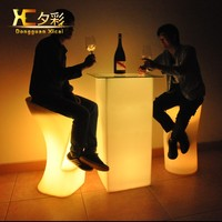 High LED Bar Coffee Drinking Table Plastic Wine Cocktail Tables