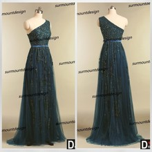 CH1831 Surmount Real Sample Crystal Beaded Lace and Tulle Dark Green One Shoulder Evening Dress For Sale