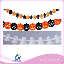 Festival Halloween Colorful Paper Garland flower Orange/White/Black