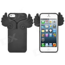 Angel Wings Noctilucent Protective Silicone Soft Back Case for iPhone 5 - Black