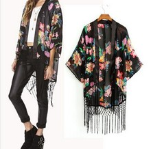 Instyles Summer Ladies vintage Boho Floral Tassels maxi kimono coat Cardigan blouse SV004979 boutique clothing Clothing
