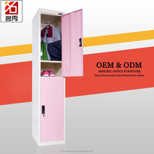 Pink 2 door knock down top quality metal cheap wardrobe cabinets