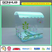 Eco-friendly flowers printing PET clear plastic container with oval top lid