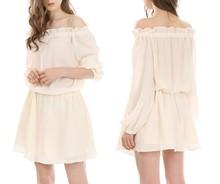 Custom Design Girls Long Sleeves Cotton Off Shoulder Short Skater Dress