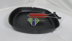 Carbon steel non-stick non stick coating grill pan wooden handle