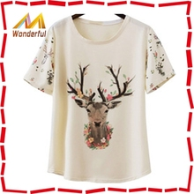 hight quality deer print T-shirt chiffon tshirt