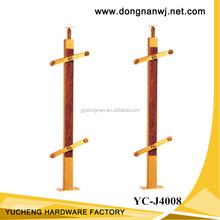 Wood balcony balustrade/staircase railing design, glass balustrade with wood handrail (YC-J4008)