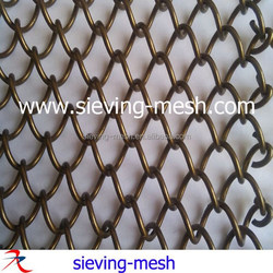 Dark brown coil woven metal drapery, metallic ceiling drapery fabric