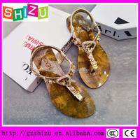 latest arrival metalic women slippers t strap girls sandals