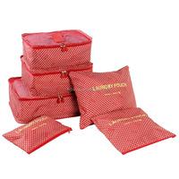 6pcs/set 14-color In Stock Korean Design Waterproof foldable travel bag set Traveling Clothes Packing Bag In Bag