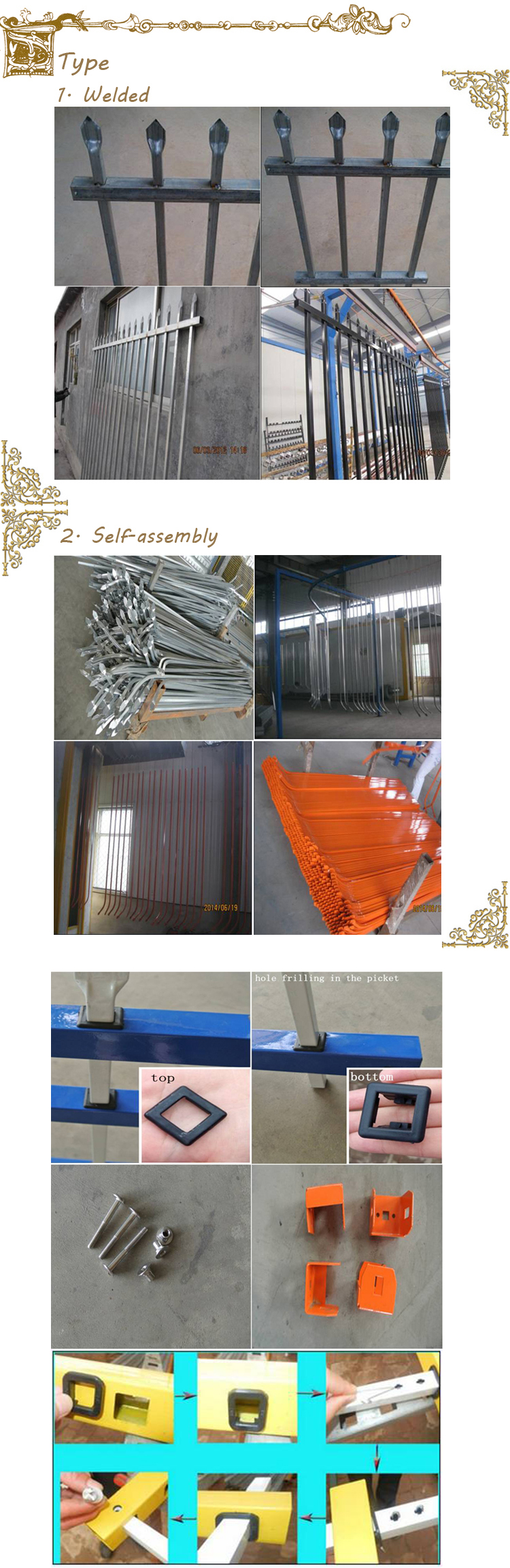 Alibaba handel zekerheid staal paladin hekwerk, sier gietijzer hek ...