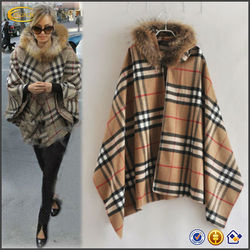 OEM wholesale online shopping for clothing Women Lady Plaids Checks Wool blend Fur Hooded women's coat cape Poncho Parka