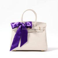 Fashion latest poly satin solid color handbag with scarf