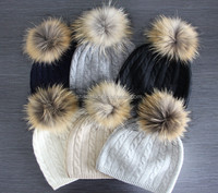 12GG luxurious knitted 100%cashmere winter beanie hats with raccoon fur pom poms