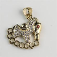 Latest Charming Unisex Diamond Inlay Fashion Copper Horse Pendant Jewelry