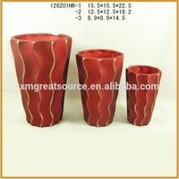 Handmade modern ceramic custom striped flower pot