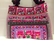 Thailand handmade Embroidery Hmong Tribe shoulder bags with PonPons strap HM4104
