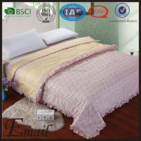 Pink AB face wave border bedspread cotton material adult print quilts