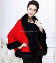 2015 la más nueva moda de imitación mujeres de lana poncho cabo