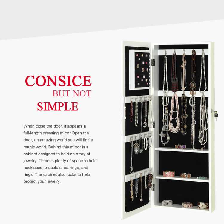 wall-mounted dressing mirror, jewelry storage armoire