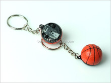 wholesale pvc plastic simulation basketball keychain