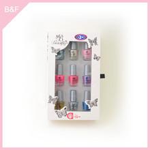 9pk nail polish set,nail polish bottle, nail art nylon hair cosmetic brush set with bag