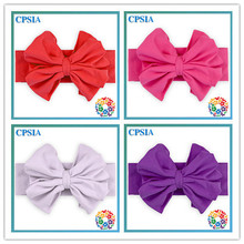 2015 Hot Sale Fashion Hair Accessories Elastic Wide Baby Coton Headband With Large Baby Girl Bow Newborn Headbands