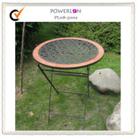 Antique Shabby Chic Wrought Iron Metal Outdoor Folding Weathered Finish Patio Furniture Tile Top Table