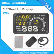 2016 newest arrival W02 Car HUD Projector Head Up Display OBD II HUD car styling 5.5 Inch Comprehensive Display car alarm system