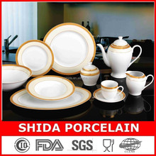 FACTORY DIRECT SUPPLY ROYAL GOLD DESIGN 47PCS SUPER WHITE PORCELAIN DINNERWARE SET IN HIGH QUALITY