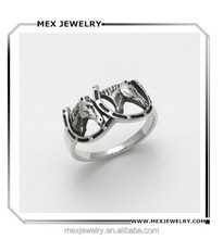 Custom Animal Jewelry Stainless Steel / 925 Silver Horses in Horseshoes Ring