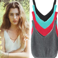 MS70997L Hot sexy women low cut tank tops solid color crop tops women knitted top