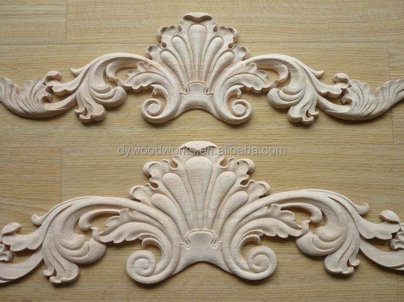 Hand carved decorative shell center solid wooden onlay for Decorative wood onlays